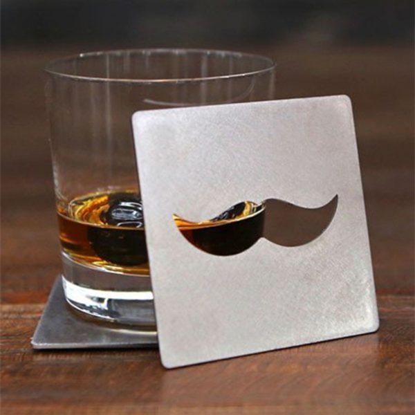 Mustasch Glasunderlägg - 4-pack